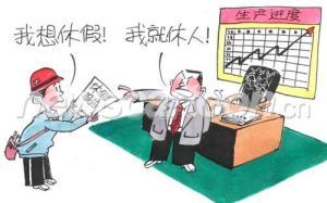 """Salarié : """"je voudrais prendre des congés payés"""" (我想休假 - wǒ xiǎng xiūjià) Le patron : """"je vous répudie !"""" (我就休人 - wǒ jiù xiū rén) Remarque : jeu de mot sur le verbe """"休"""" (xiū)"""